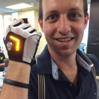 Zackees Bicycle Gloves Are Cool Signaling. Wearable Tech Coming. @perpetualmaniac Showing Me The Future. at Wearable World Headquarters